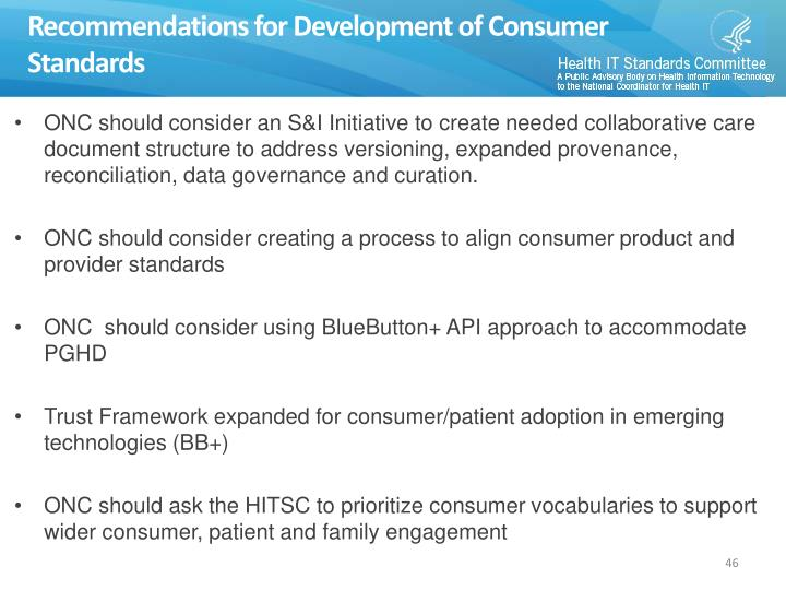 Recommendations for Development of Consumer Standards