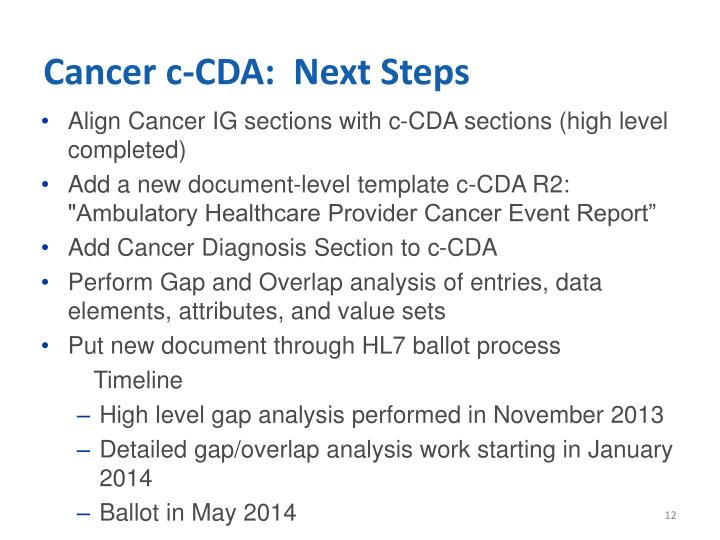 Cancer c-CDA:  Next Steps