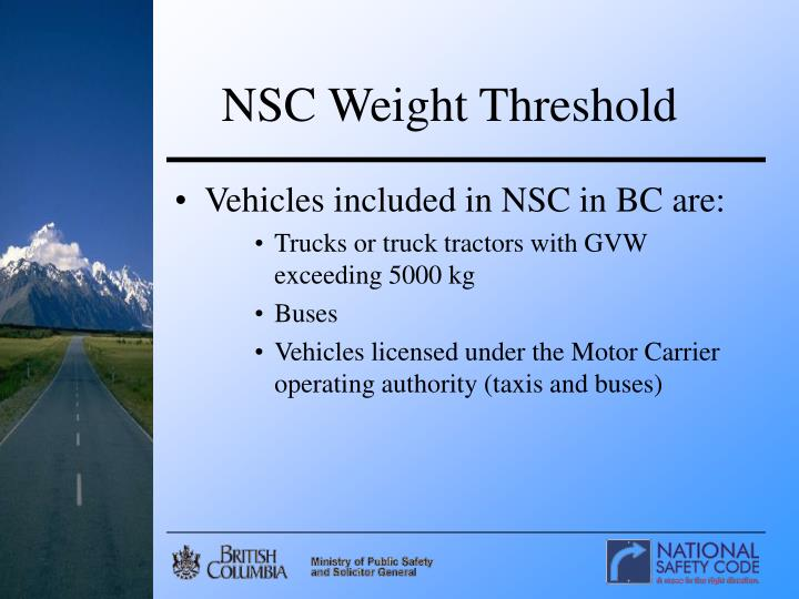 NSC Weight Threshold