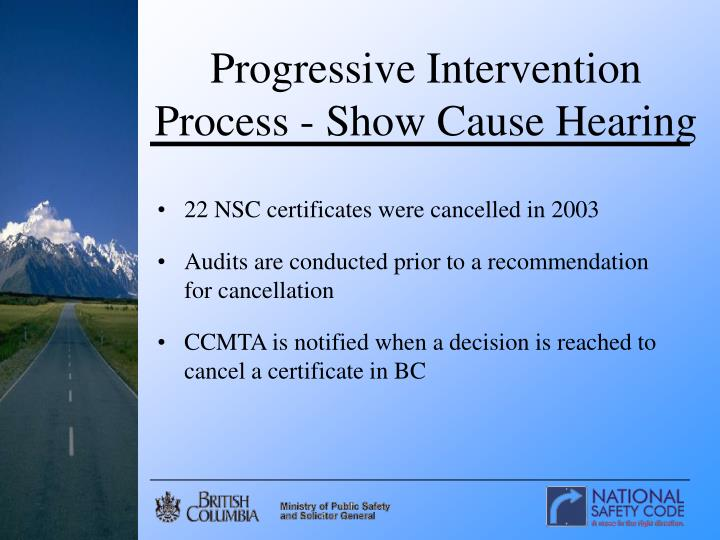 Progressive Intervention Process - Show Cause Hearing