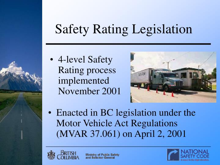 Safety Rating Legislation