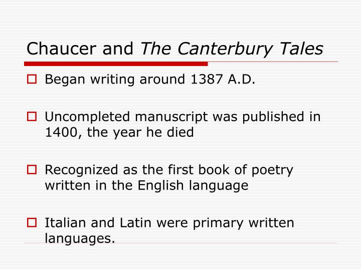 Chaucer and the canterbury tales