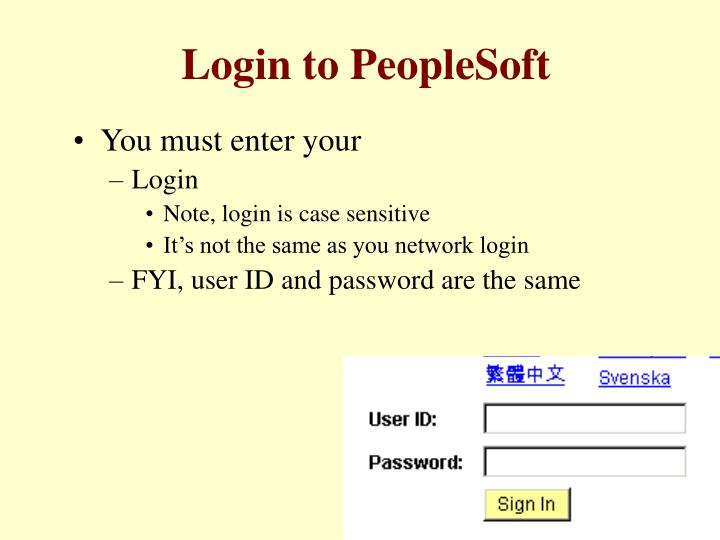 Login to PeopleSoft