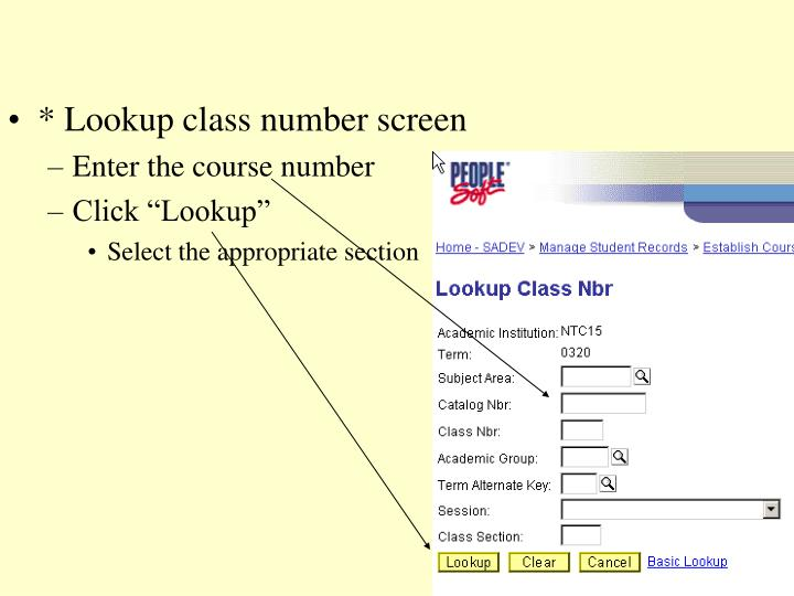 * Lookup class number screen