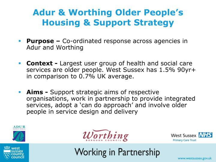 Adur & Worthing Older People's Housing & Support Strategy