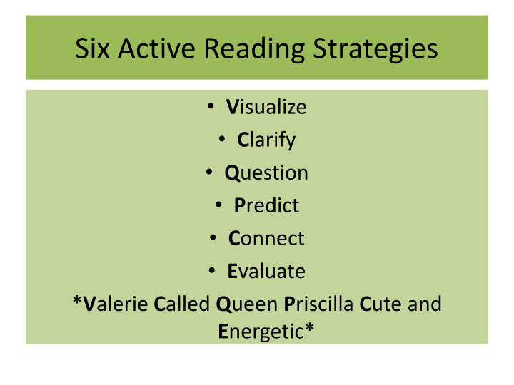 PPT - Six Active Reading Strategies PowerPoint Presentation - ID ...