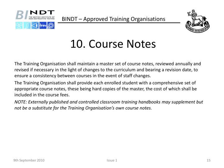 10. Course Notes