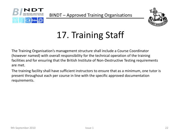 17. Training Staff