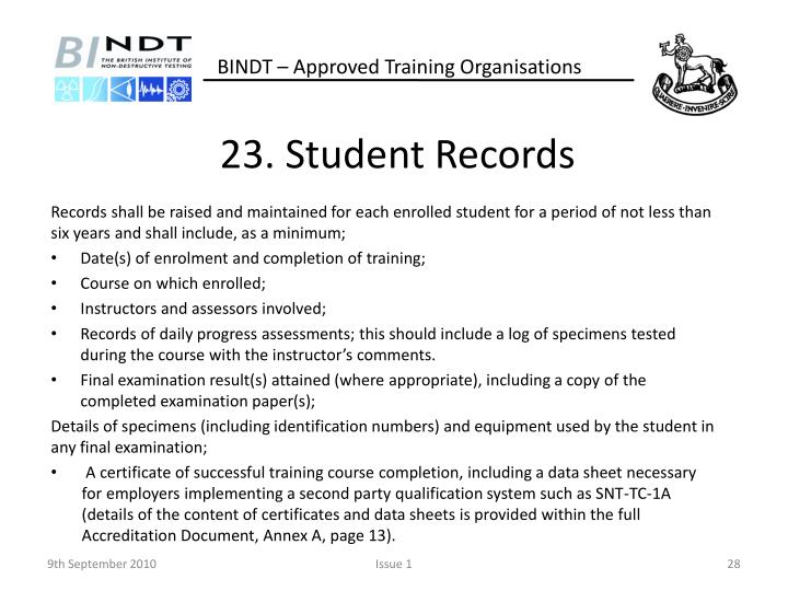 23. Student Records