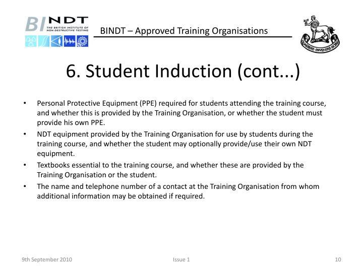 6. Student Induction (cont...)