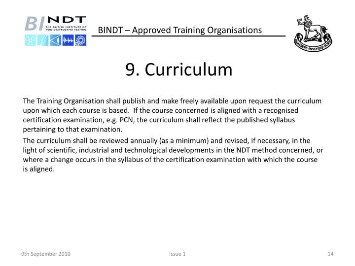 9. Curriculum