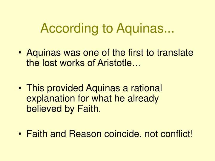 According to Aquinas...