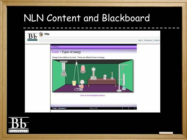 NLN Content and Blackboard