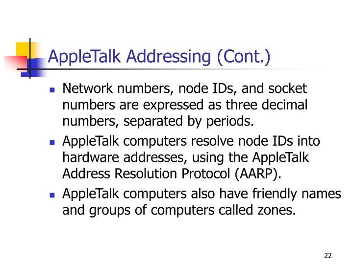 AppleTalk Addressing (Cont.)