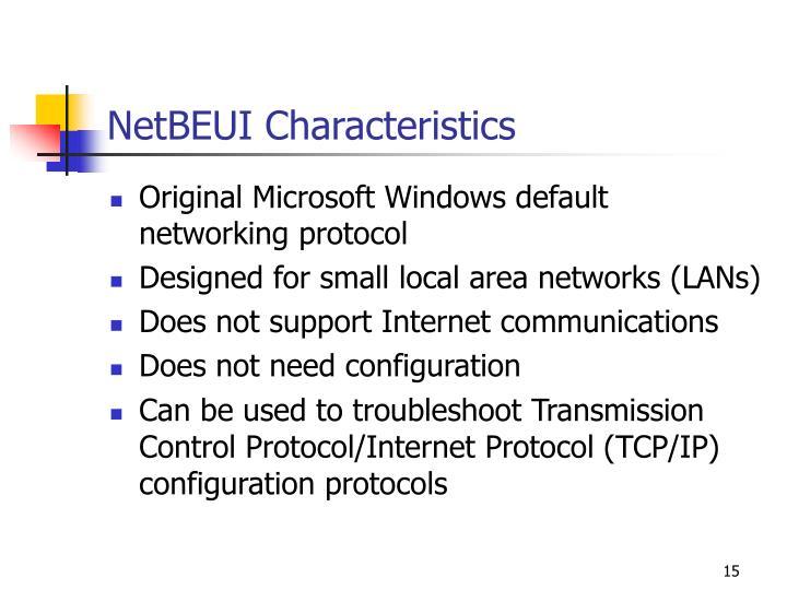 NetBEUI Characteristics