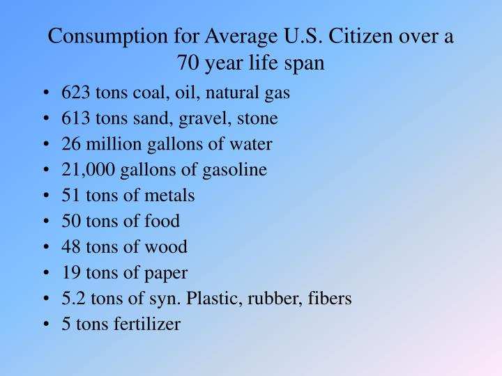 Consumption for average u s citizen over a 70 year life span