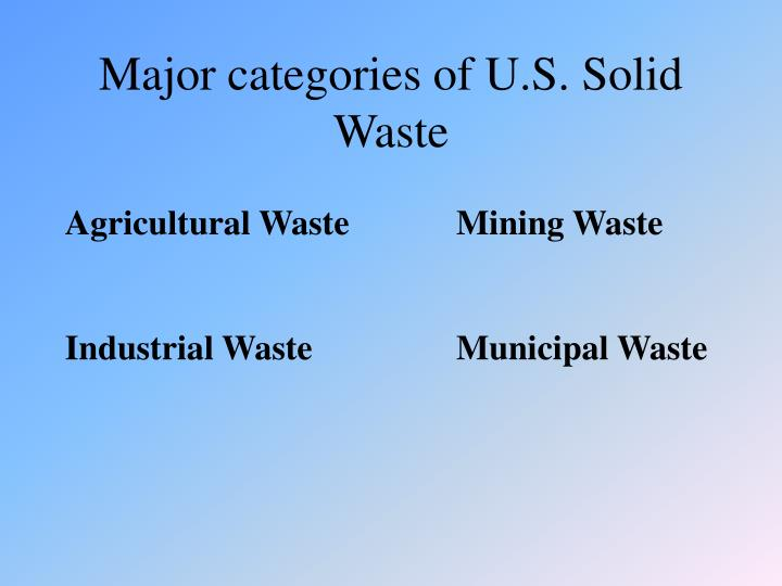Major categories of U.S. Solid Waste