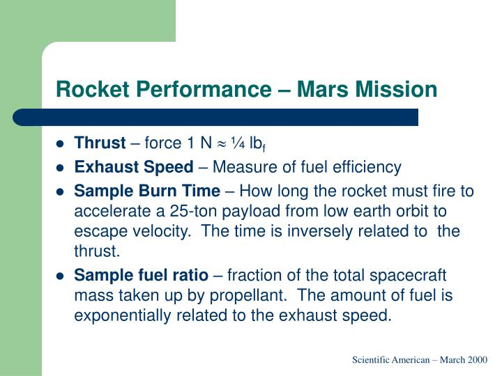 Rocket Performance – Mars Mission