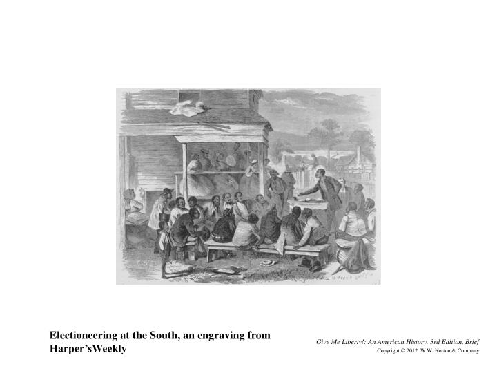 Electioneering at the South, an engraving from