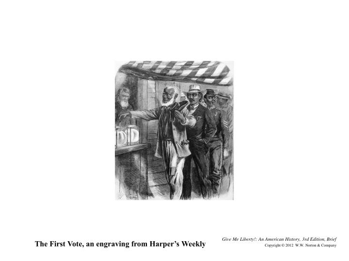 The First Vote, an engraving from Harper's Weekly