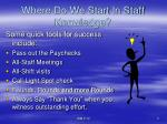where do we start in staff knowledge