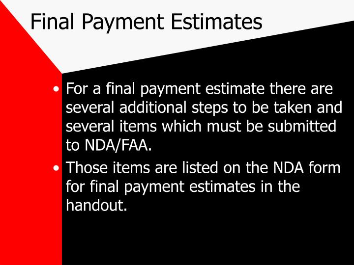 Final Payment Estimates