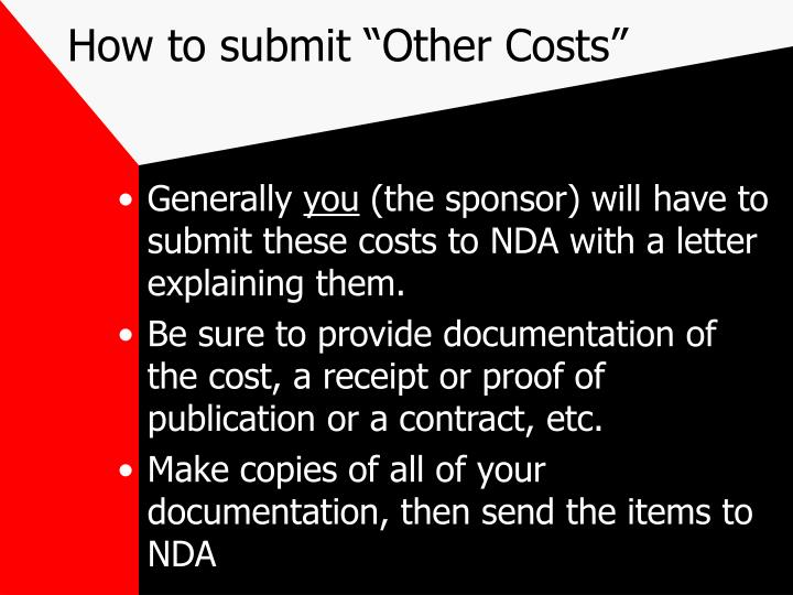 "How to submit ""Other Costs"""