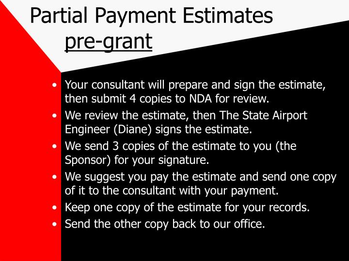 Partial Payment Estimates