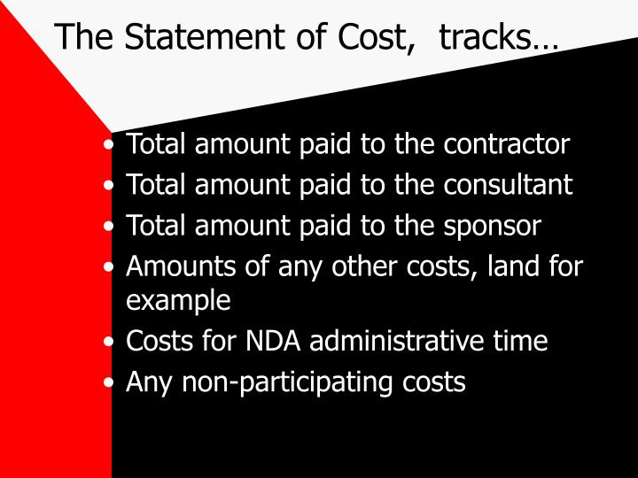 The Statement of Cost,  tracks…