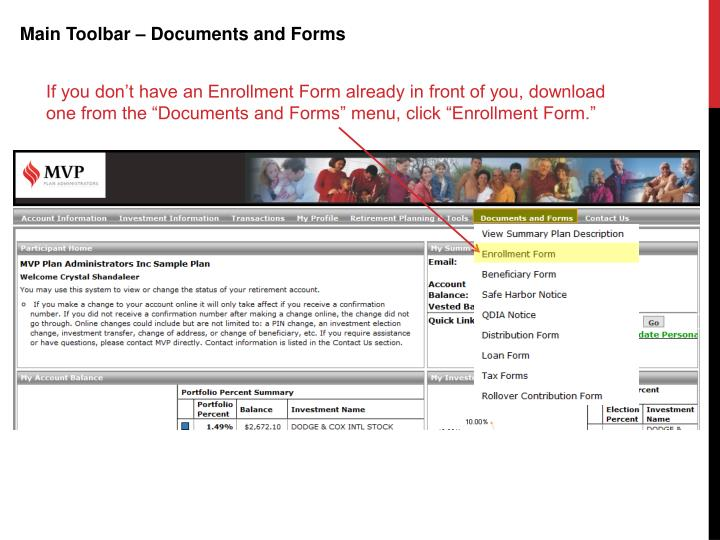 Main Toolbar – Documents and Forms