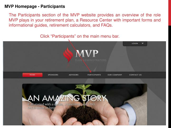 MVP Homepage - Participants