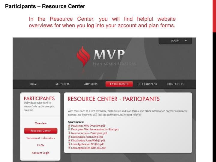Participants – Resource Center