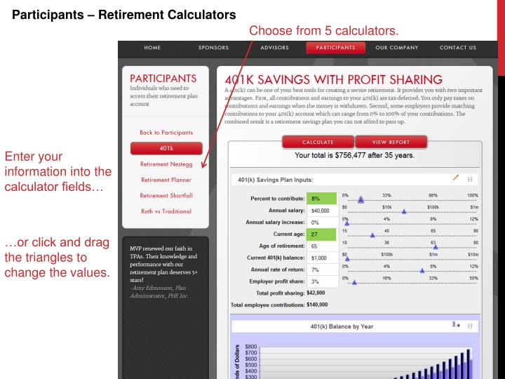 Participants – Retirement Calculators