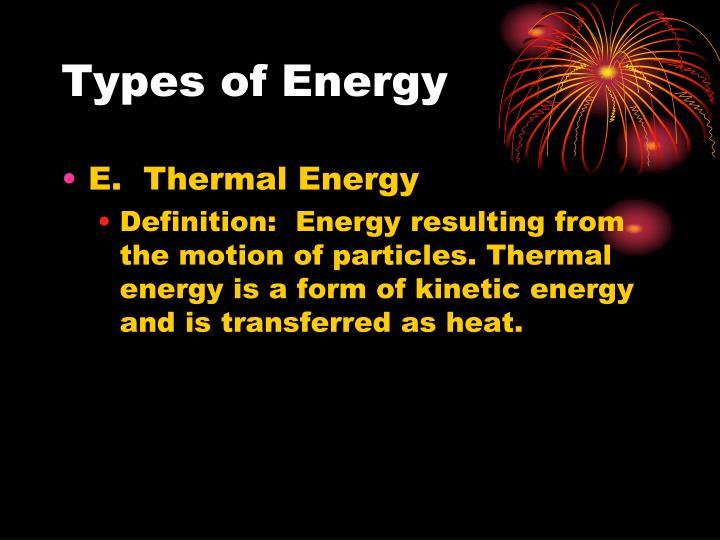 Types of Energy