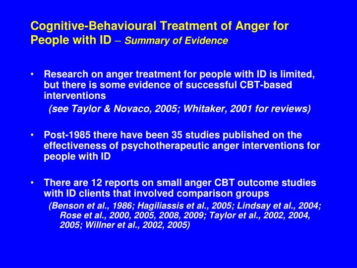Cognitive-Behavioural Treatment of Anger for People with ID