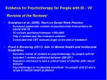 evidence for psychotherapy for people with id vii reviews of the reviews