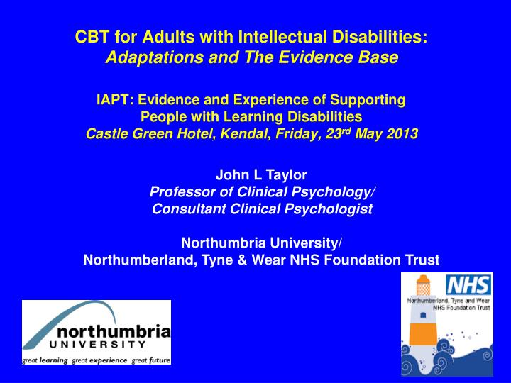 CBT for Adults with Intellectual Disabilities: