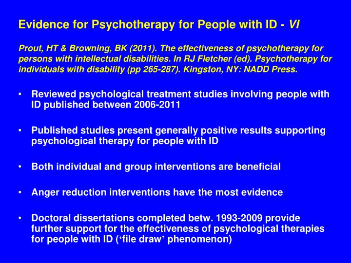 Evidence for Psychotherapy for People with ID -