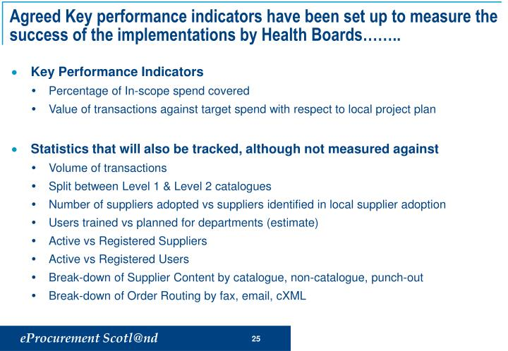 Agreed Key performance indicators have been set up to measure the success of the implementations by Health Boards..