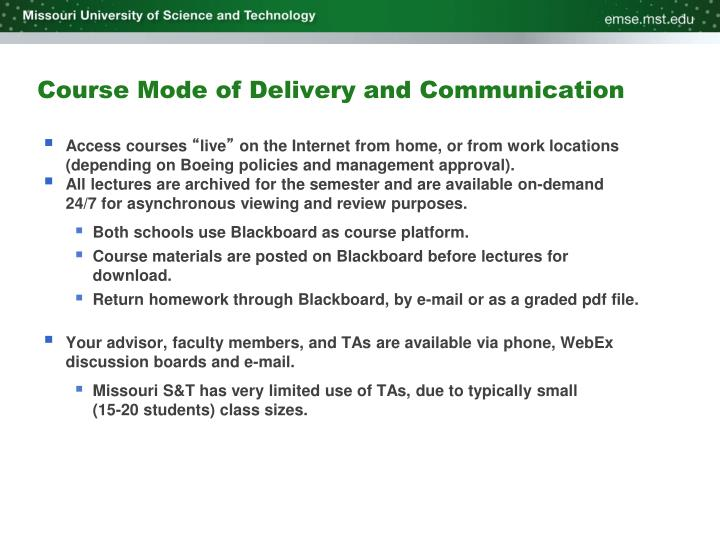 Course Mode of Delivery and Communication