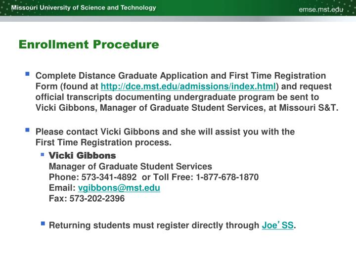 Enrollment Procedure