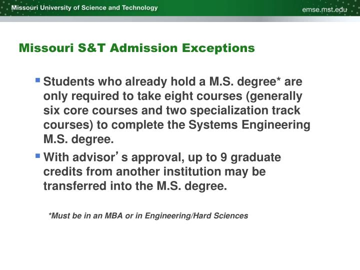 Missouri S&T Admission Exceptions
