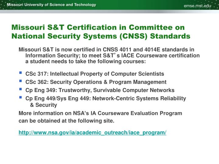 Missouri S&T Certification in Committee on