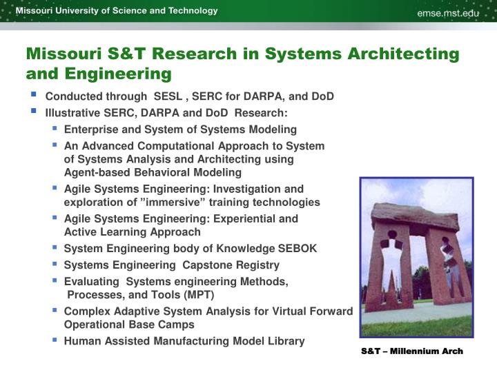 Missouri S&T Research in Systems Architecting and Engineering
