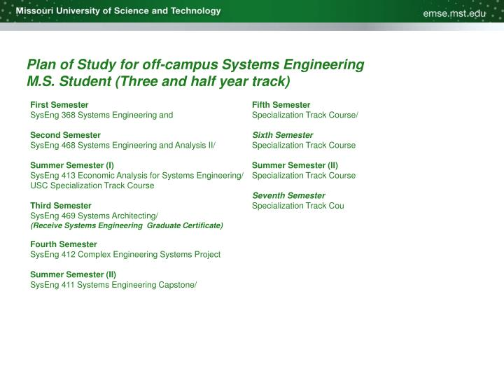 Plan of Study for off-campus Systems Engineering