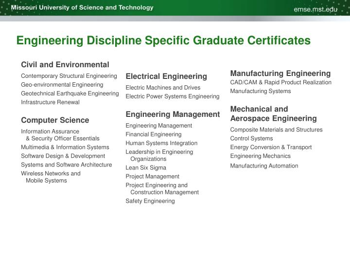 Engineering Discipline Specific Graduate Certificates
