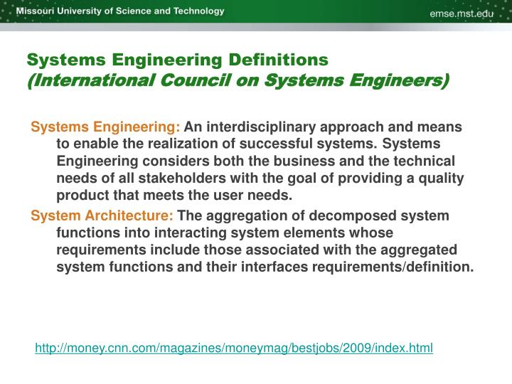 Systems engineering definitions international council on systems engineers