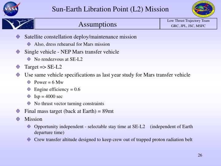 Sun-Earth Libration Point (L2) Mission