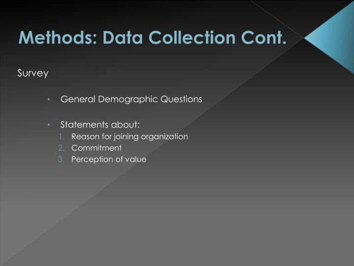 Methods: Data Collection Cont.