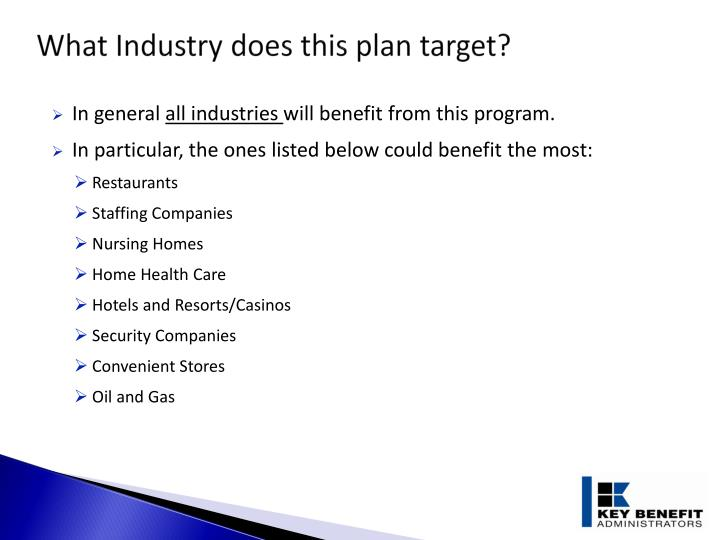 What Industry does this plan target?